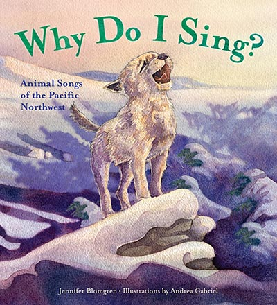 front cover of children's book featuring howling baby wolf