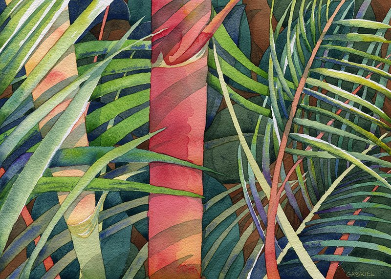 painting of palm fronds