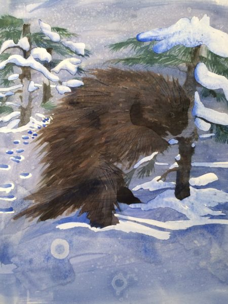 bad painting of porcupine eating bark to demonstrate the importance of resilience in art