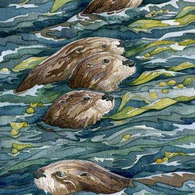 otter painting in watercolor