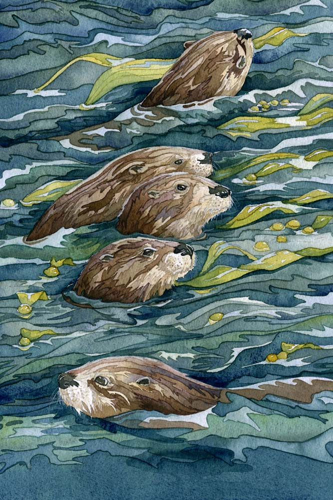 painting of an otter family
