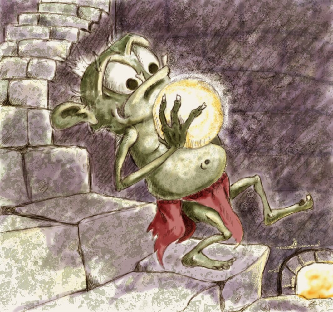 lightly colored fantasy illustration of goblin carrying orb down stairs