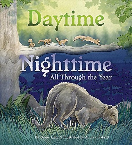 Daytime Nighttime book cover featuring a cougar and squirrels on a branch