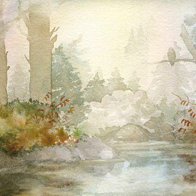 watercolor painting of alpine lake