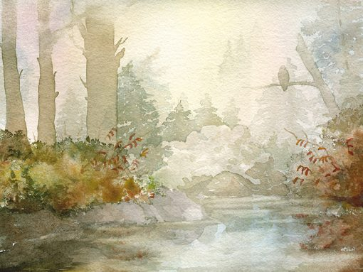 watercolor painting of alpine lake