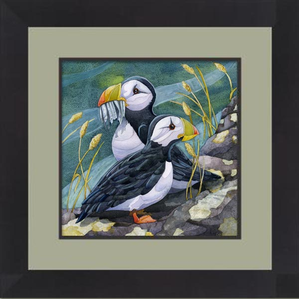 puffin painting in black frame