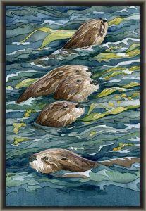framed canvas print of otter painting by Andrea Gabriel