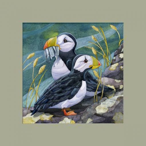 puffins painting with gray green mat