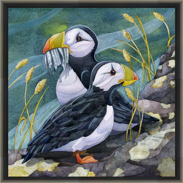 photo of canvas print of puffin painting