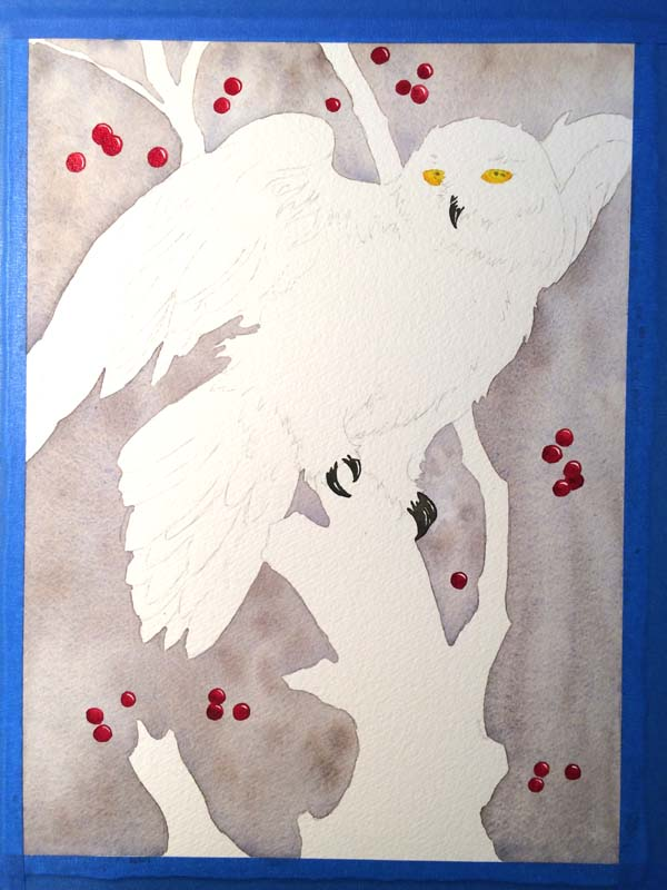 snowy owl painting in early stages