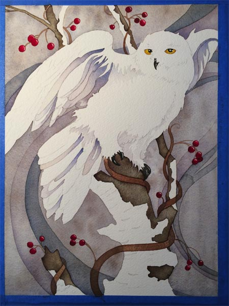 snowy owl painting nearly halfway completed