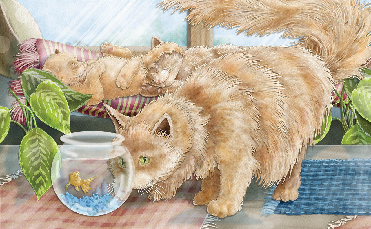 cat illustration - picture of cat looking at goldfish bowl