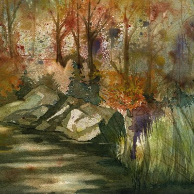 watercolor painting of autumn woods